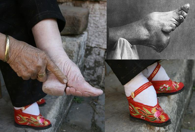 woman footbinding
