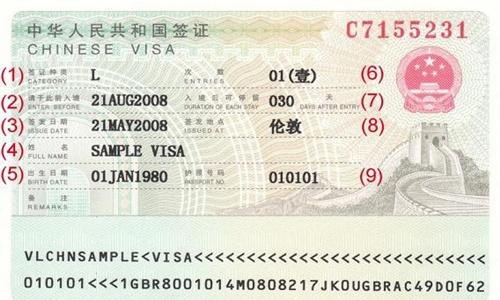 contoh visa tiongkok